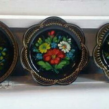 Three Beautiful Vintage Black Lacquered Hand Painted Trays, Metal Tray, Decorative Tray, Serving Tray,