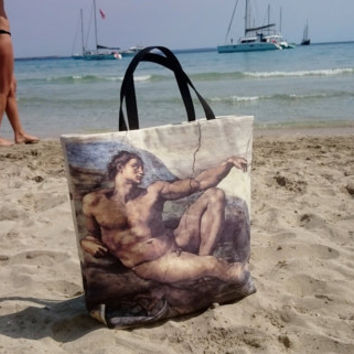 Tote bag Adam, Michelangelo painting printed, Beach bag, trendy handbags, casual chic bags, handmade, luxury bags made in France.