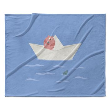 "Cristina bianco Design ""Cat & Paper Boat"" Pink Blue Fleece Throw Blanket"