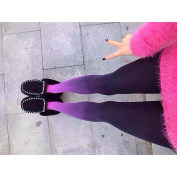 Spring Autumn Hosiery Women Girls Sexy Colorful Ombre Stockings Tights Pantyhose