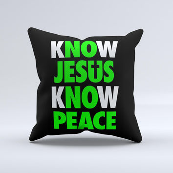 Know Jesus Know Peace - White and Lime Green Over Black  Ink-Fuzed Decorative Throw Pillow