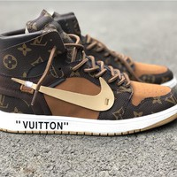 Off White x Air Jordan 1 x LV Basketball Shoe 40-46