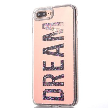 For iPhone 6 6Plus 7 7Plus Glitter Quicksand Case Diamond Dream LOVE Girl Sparkle Glitter Star Flowing Liquid Cover Phone Case