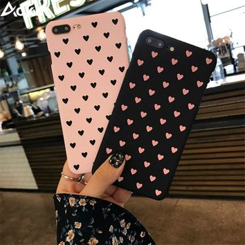Aokin Fashion Couples Love Heart Case For iPhone X 8 7 6 6s Plus 5 5s SE Cartoon Ultra Hard PC Cover Cases For iPhone 8 Coque