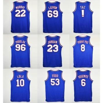 Space Jam Basketball Jerseys Blue