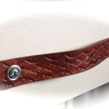 Leather Drawer Handle Drawer Pull Western Cowboy Design - Custom Sized - Love That Leather