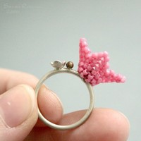 Baby Pink Beaded Campanitas Ring Sterling Silver by SarahRobinL