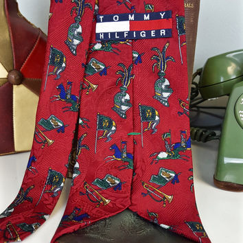 Vintage Tie Tommy Hilfiger Medieval Knights, Tommy Hilfiger Red Silk Tie, Historical Neckties, Father's Day Gift, Gift for Dad, 90s Clothing