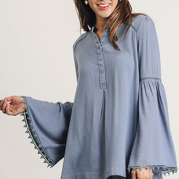 Umgee Denim Women's Popover Tunic with Trumpet Sleeves