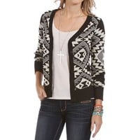 Ivory/Black Tribal Print Cardigan