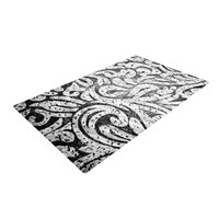"""Caleb Troy """"Black and White Paisley"""" Woven Area Rug"""