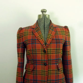 Vintage Tartan Plaid Blazer Jacket Rust Orange by rileybella123