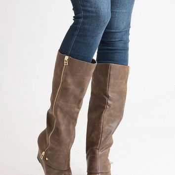 Finders Keepers Tan Wedge Boots