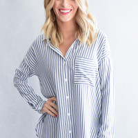 Blue Stripe Pocket Top