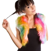 Clubstyle Rainbow Blend Vest : Furry Vests and Womens Burner Rave Clothing