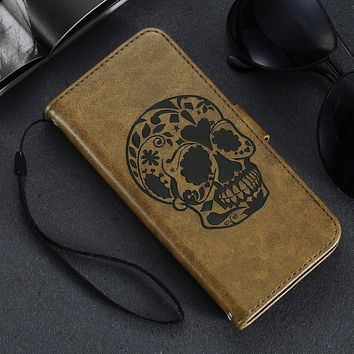 2017 KISSCASE Skull Patterned Leather Case for iPhone 5 5S SE for iPhone 6 6S Flip Cases Full Protect Card Pocket Cover Coque
