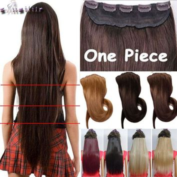 18-30 inches Clip in Hair Extensions 3/4 Full Head 5 Clips Hair Extention Synthetic Real Natural Hairpiece