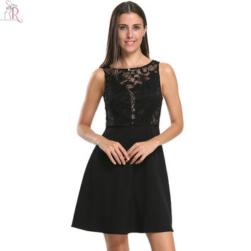 Women Summer Style Black Sleeveless Pleats Casual A Line Mini Lace Hollow out Crochet Backless Skater Dress 2017 Fashion