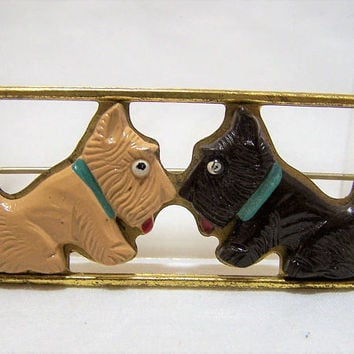 Art Deco Celluloid Scotties Pin, Scottish Terrier and West Highland White Brooch, Gold Tone Setting, Vintage Jewelry, Figural Animal 417