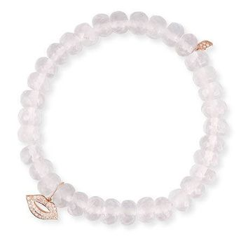 Sydney Evan Rose Quartz Bead Bracelet w/ 14k Diamond Lips Charm