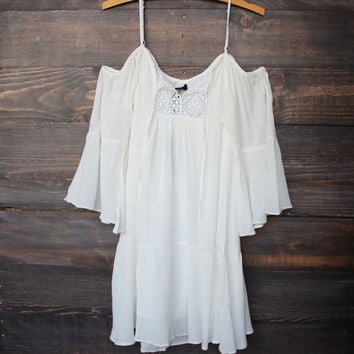 bohemian cold shoulder dress - white