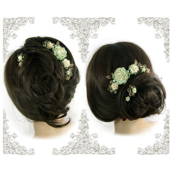 Vintage Style Mint and Ivory Victorian Wedding Flower Hair Accessories - Handmade Floral Hair Comb - Mint Wedding Hair Crown, Bronze Wedding