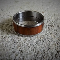 Men's Stainless Steel Ring with Cocobolo Wood Inlay