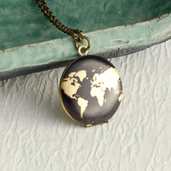 Small World Map Locket Necklace, black gold antique style pendant birthday graduation travel Mothers Day gift