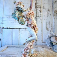 Tall woman peacock statue ornate shabby cottage chic graceful lady holding bird reclaimed figure one of a kind home decor anita spero design