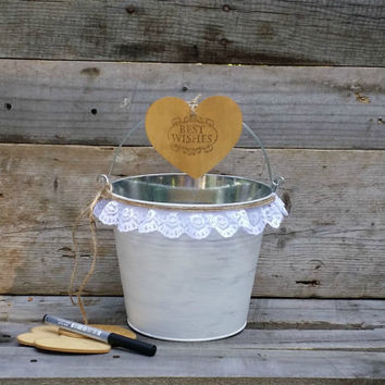 Rustic Wedding Guest Book Alternative, Rustic Wedding Wish Well, Wedding Advice Box,
