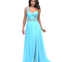 2014 Prom Dresses - Aqua Jewel Encrusted Chiffon One Shoulder Long Dress