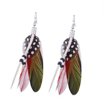Vintage Colorful Long Feather Earrings