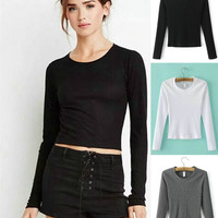 Simple Design Round-neck Cotton Winter Long Sleeve T-shirts Bottoming Shirt [4918709636]