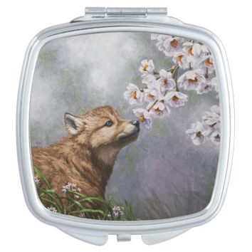 Wolf Pup and Flowers Compact Mirror