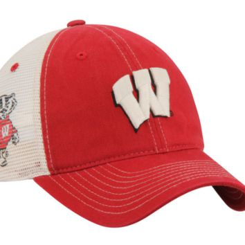 Men's Zephyr Crimson Wisconsin Badgers Sideout Meshback Slouch Trucker Adjustable Snapback Hat