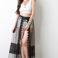 Scallop Lace Trimmed Mesh Cover-Up Maxi Skirt