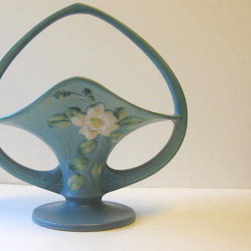 Vintage Retro Roseville Pottery White Rose Turquoise Basket 363-10