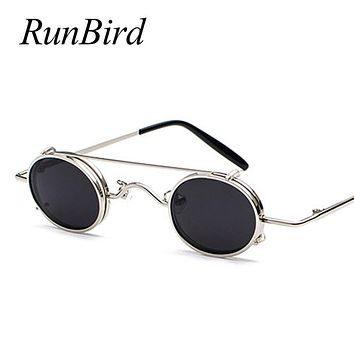 Small Round Steampunk Sunglasses Men Women Retro Metal Clip on Steam Punk Sun Glasses for Male Vintage Gothic Goggles 1304R