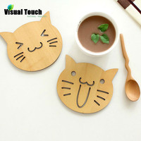 Smile Kitty Wooden Carved Coasters Set of 4 pcs