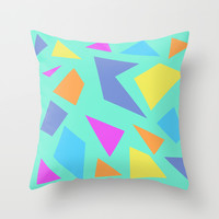 Mint Shapes Throw Pillow by Minorthread