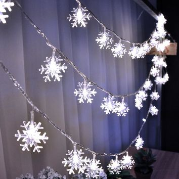 AC220V 10M 50LED Christmas lights snowflake lamp holiday lighting for outdoor wedding party decoration curtain string lights