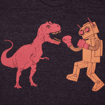 Dinosaur Vs Robot Crew Neck TShirt Athletic by GnomEnterprises