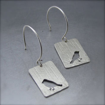 Small Silver Raining Robin Earrings by Beth Millner by BethMillner