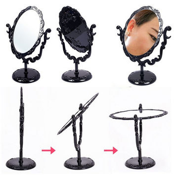 Vintage Desktop Rotatable Gothic Rose Stand Compact Makeup Mirror Black Butterfly Small Size
