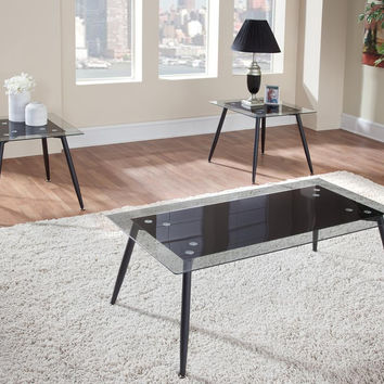 Delta Modern Black Metal & Glass Coffee Table Set