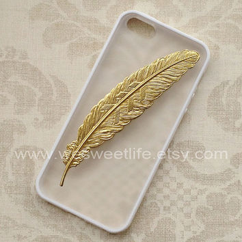 Iphone 5 Case, Golden angle Feather,  white Soft border case,white translucent cover for Iphone 5