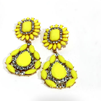 """Sunkissed"" Yellow And Diamond Drop Earrings"