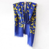 Stunning Gorgeous Style Butterfly Pattern Wool Scarf