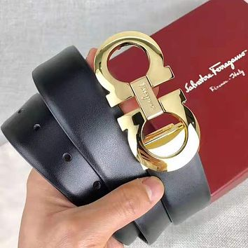Ferragamo Fashion Women Men Retro Bee Buckle Belt Leather Belt With Box