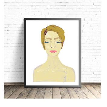 Woman Portrait, Painting of Girl, Kees Van Dongen, Naked, Raw Emotion, Peaceful, Zen, Anna, Beautiful Woman, Illustration of Girl